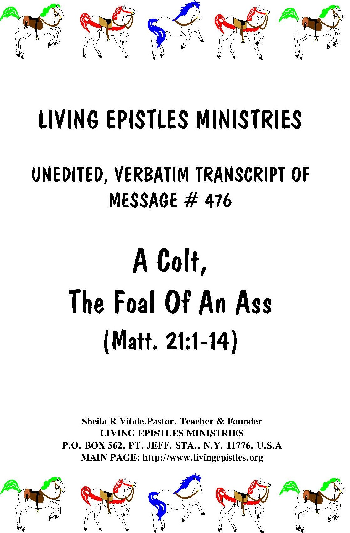 A Colt The Foal Of An Ass LEM 476 Cover 030216