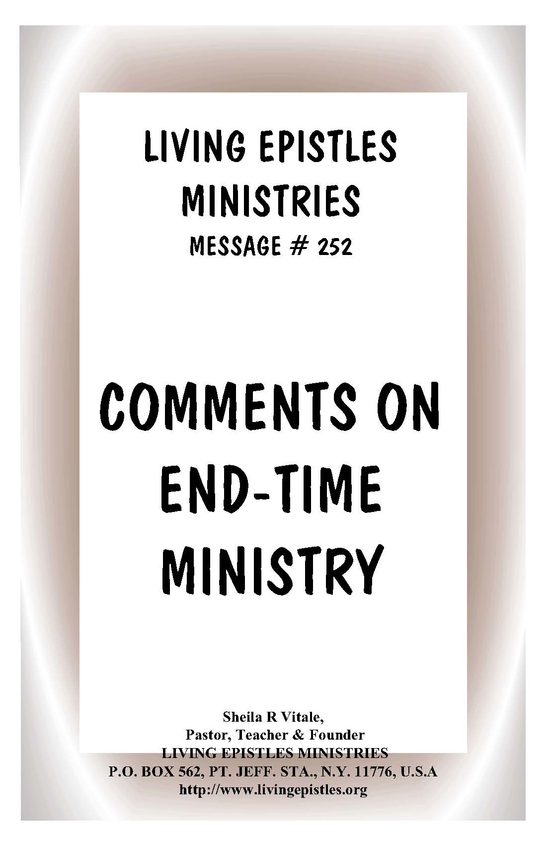 CommentsOnEndTimeMinistry.LEM.252.050516.Cover