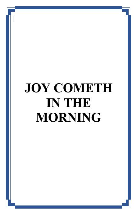 Joy Cometh In The MorningCover001