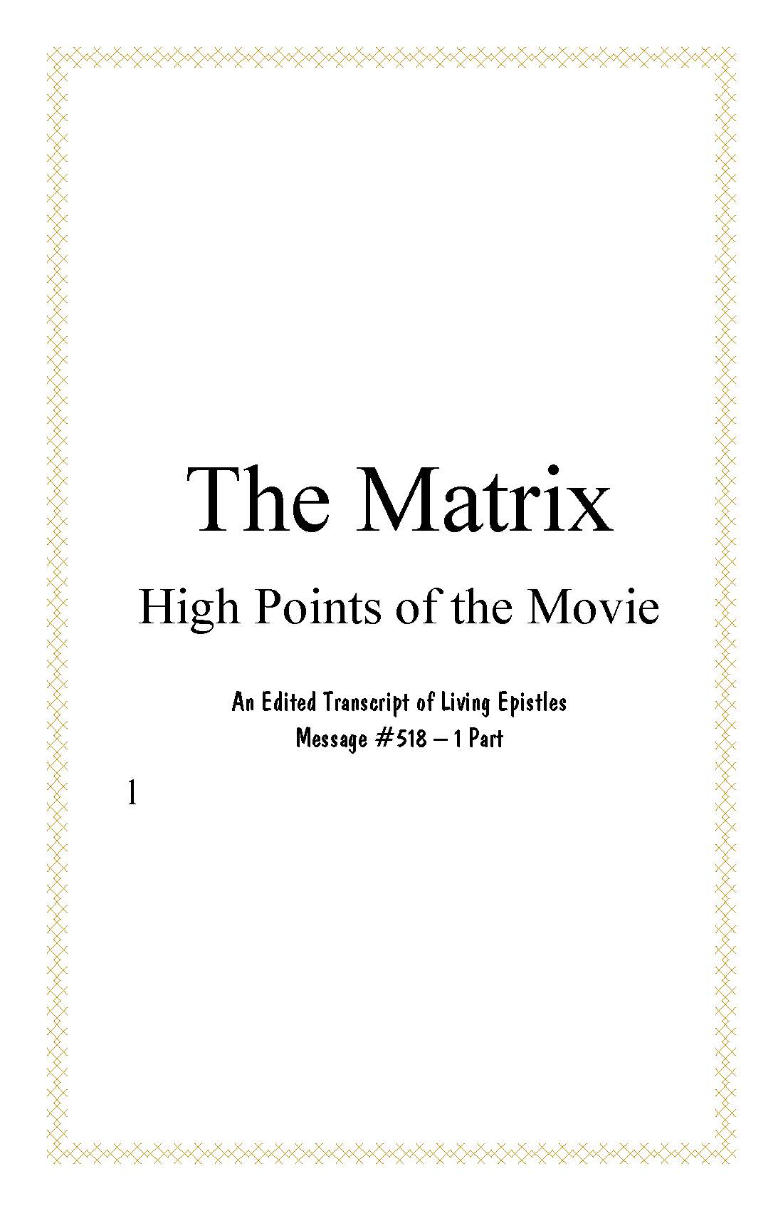 Matrix High Points of the Movie.BOOK.518.L.cover