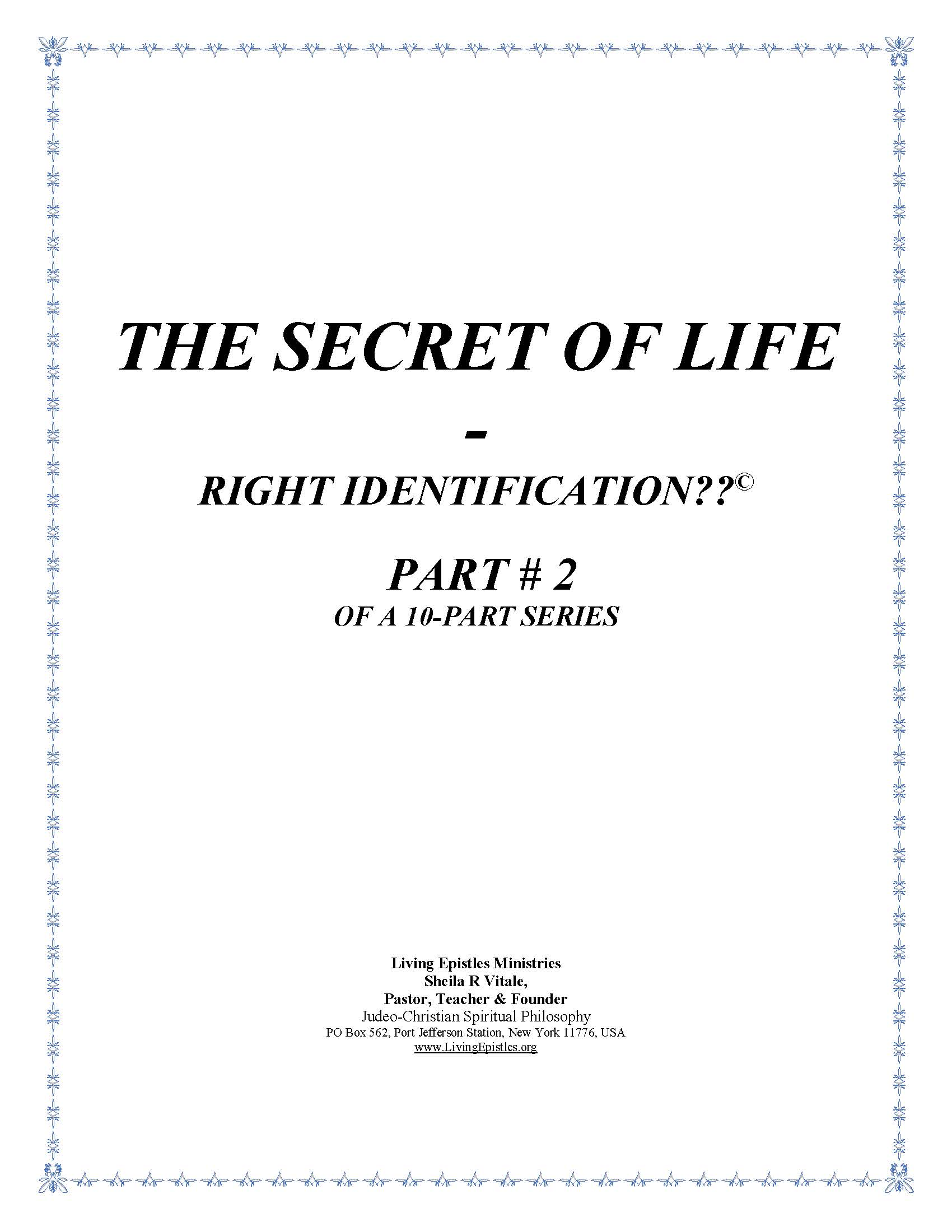 Secret Of Life Right Identification Part 02 022316 Cover