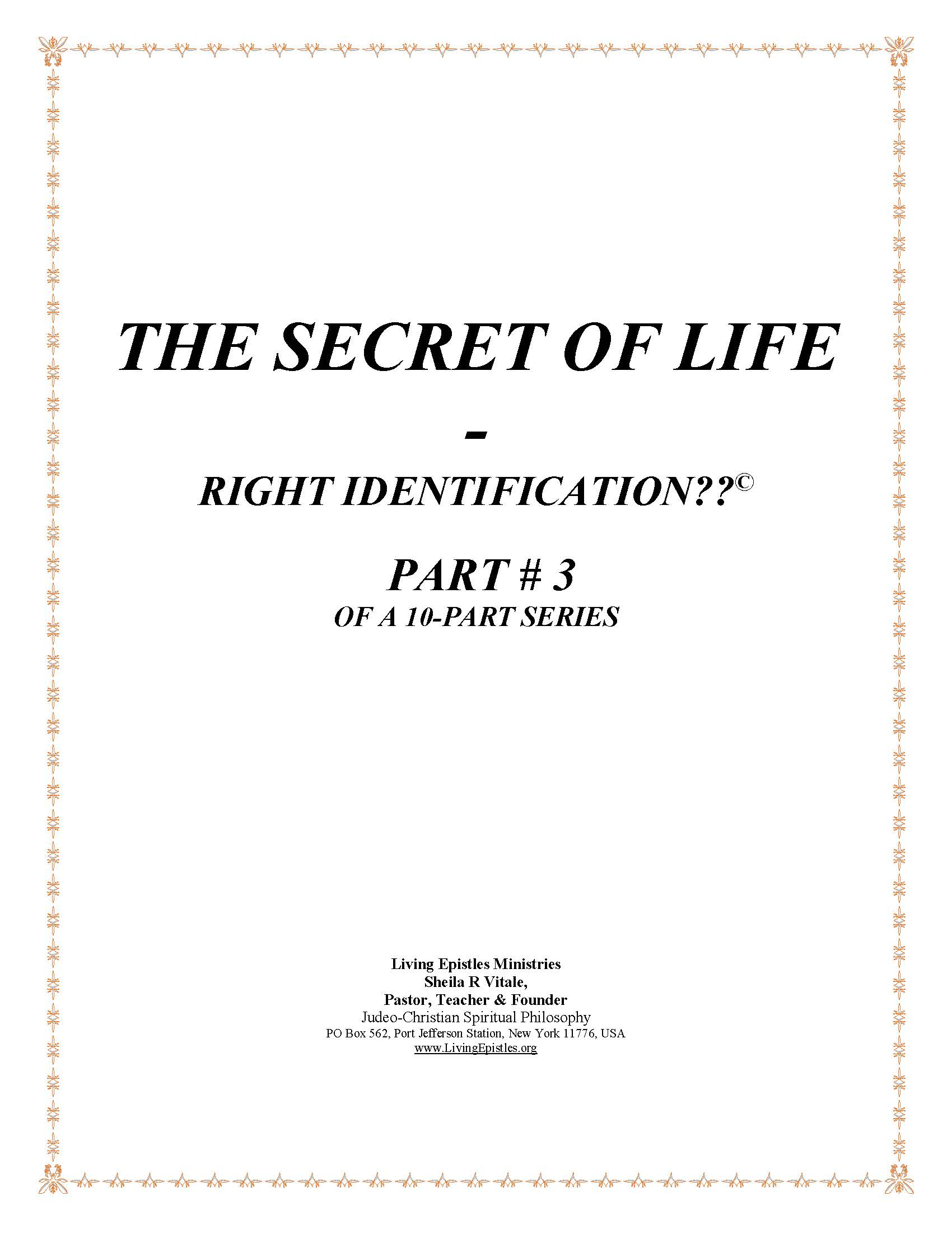 Secret Of Life Right Identification Part 03 022316 Cover