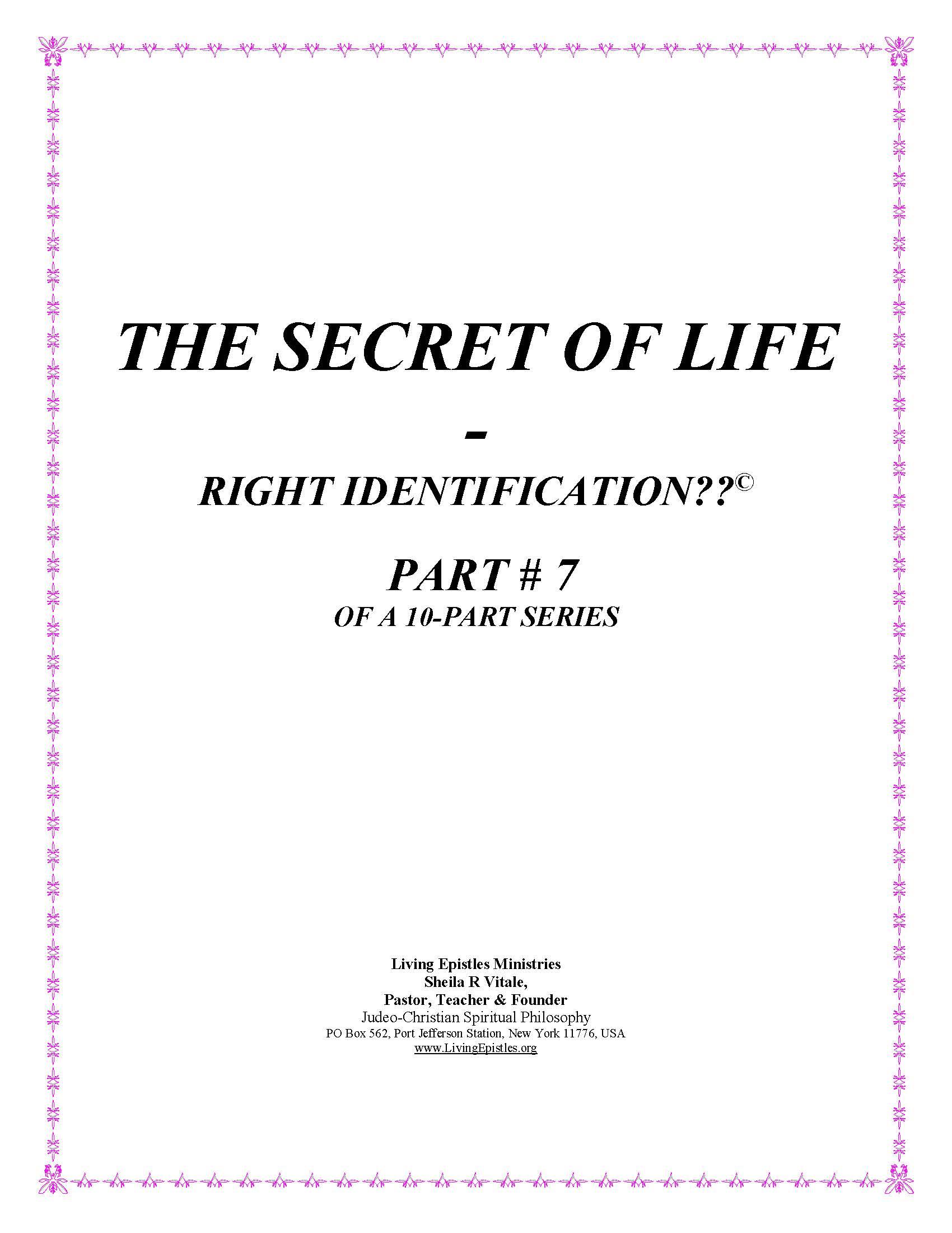 Secret Of Life Right Identification Part 07 022316 Cover